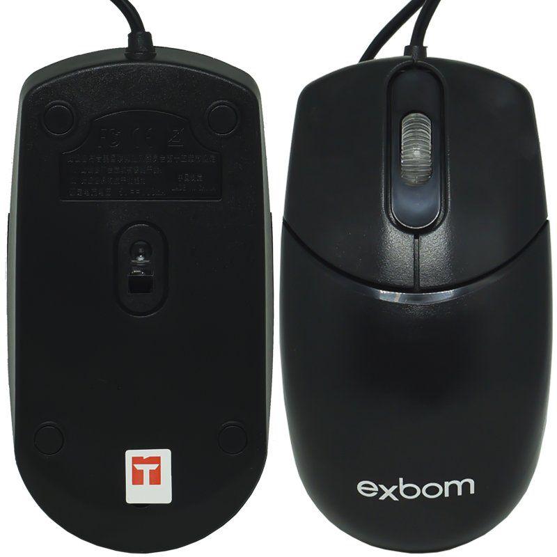 Kit 10 Mouse com Fio Óptico Usb Cabo 1000 Dpi Exbom MS-70 Preto