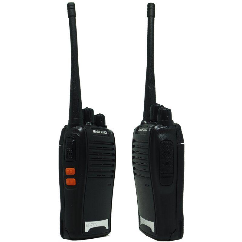 Kit 10 Rádios Comunicador HT Walk Talk UHF 16 Canais Profissional Fone Baofeng BF-777S Preto Bivolt
