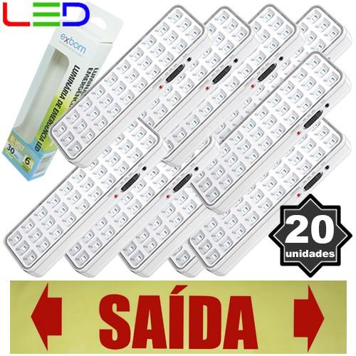 Kit 20 Luminárias de Emergência Bivolt 30 Leds 2W Exbom LE-PR40 Recarregável Lâmpada Luz Branco Frio  - BEST SALE SHOP