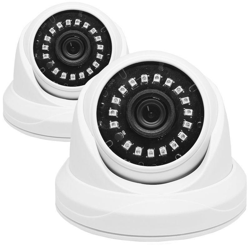 Kit 2 Câmeras de Segurança AHD Dome 2MP 3,6mm 1920x1080p Infravermelho Residencial Interna Branca