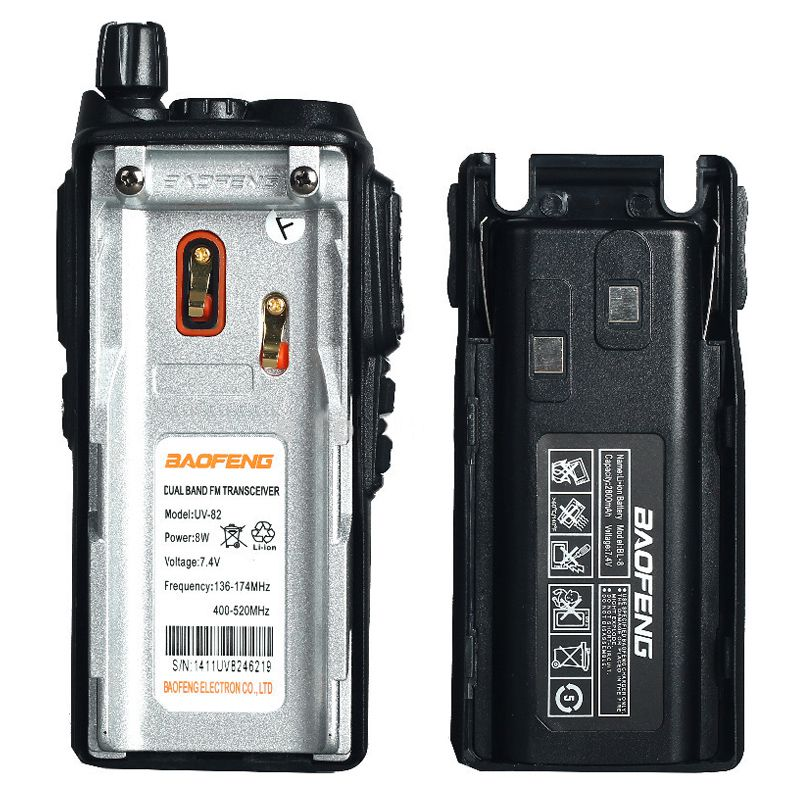 Kit 2 Rádios Comunicador HT Profissional UHF VHF Baofeng BF-UV82 Preto + Fone