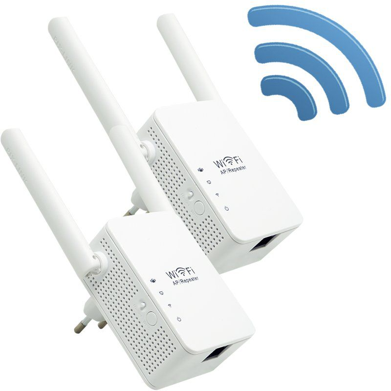 Kit 2 Repetidores Sinal Wireless Wifi 300 Mbps Wps Extensor Amplificador 2,4Ghz 2 Antenas Bivolt