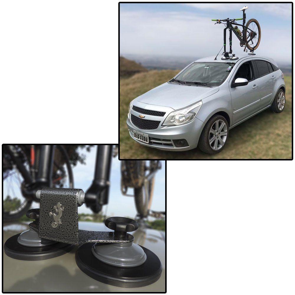 Kit 2 Suporte Rack Trans Bike Bicicleta Teto Carro Ventosa Vácuo Universal Gecko Racks Ecco Completo