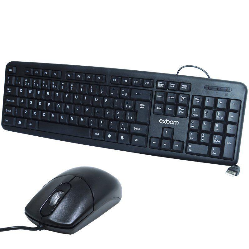 Kit 2 Teclados Usb Abnt2 com Ç + 2 Mouses Computador Pc Standard Exbom BK-102 MS-70 Preto