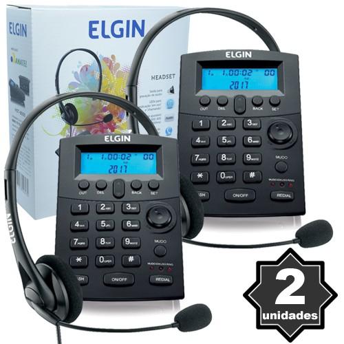 Kit 2 Telefones Headset com Base Discadora Teclado e Identificador de Chamadas Elgin HST 8000 Preto