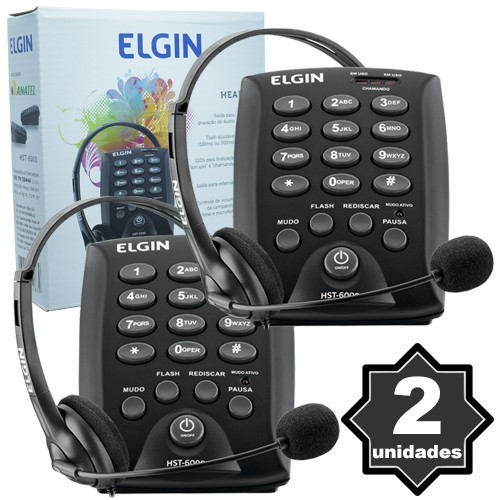 Kit 2 Telefones Headset com Base Discadora Teclado Elgin HST 6000 Telemarketing Preto