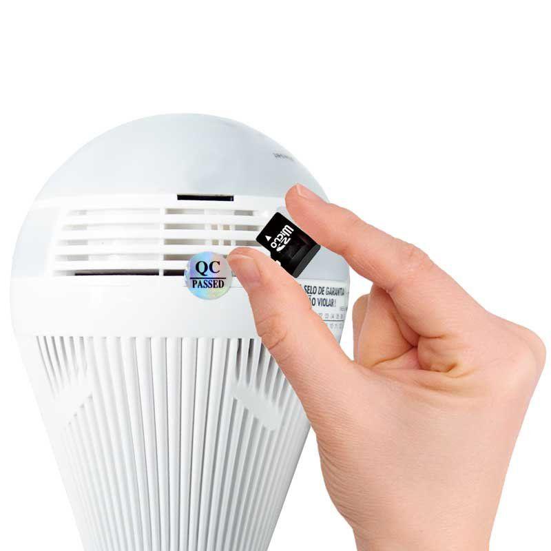 Kit 3 Lâmpadas Câmera Espiã 360° Panorâmica Wifi Ip Led Bivolt Microfone e Alto Falante Embutido