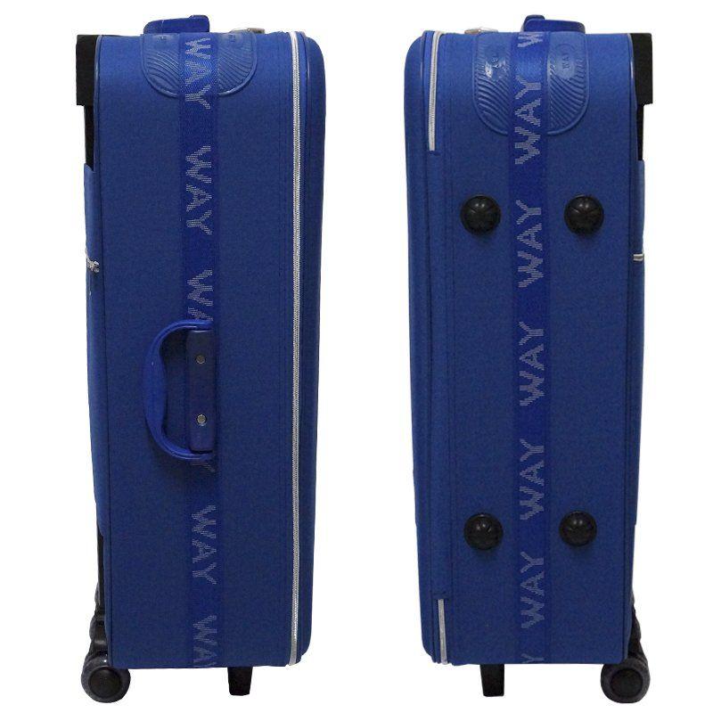 Kit 3 Malas de Viagem Jogo Conjunto Pequena 19´´ Média 23´´ Grande 27´´ com Rodinha Azul Way