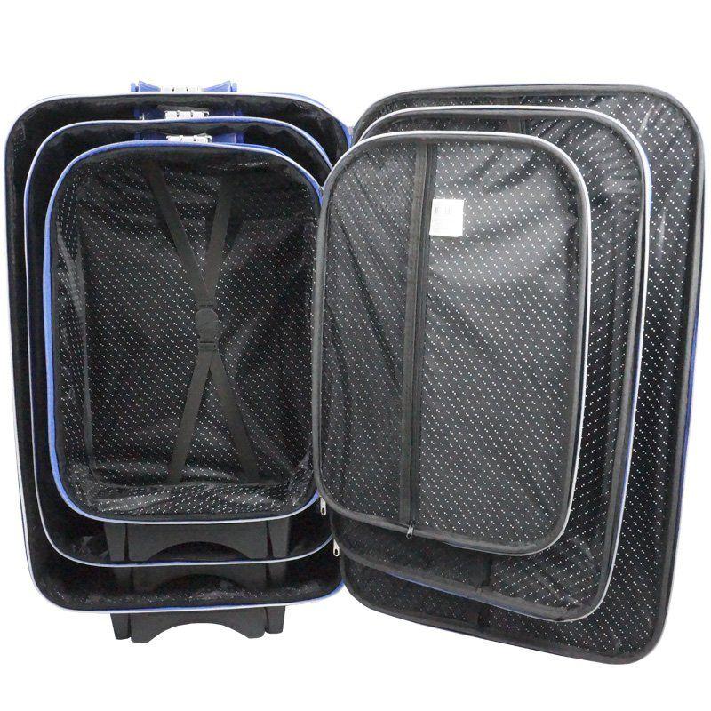 Kit 3 Malas de Viagem Jogo Conjunto Pequena Média Grande com Rodinha Importway Azul 19/23/27´´  - BEST SALE SHOP