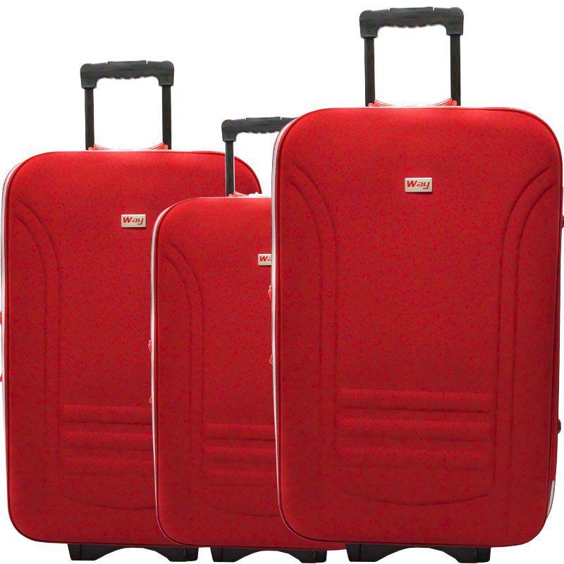 Kit 3 Malas de Viagem Jogo Conjunto Pequena Média Grande com Rodinha Importway Vermelha 19/23/27´´