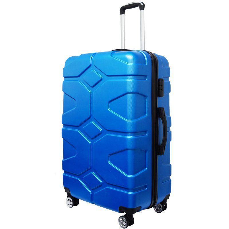 Kit 3 Malas de Viagem Rígida Abs Policarbonato Rodinha 360 Jogo Pequena Média Grande Importway Azul