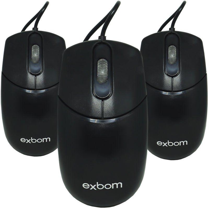 Kit 3 Mouse com Fio Óptico Usb Cabo 1000 Dpi Exbom MS-70 Preto