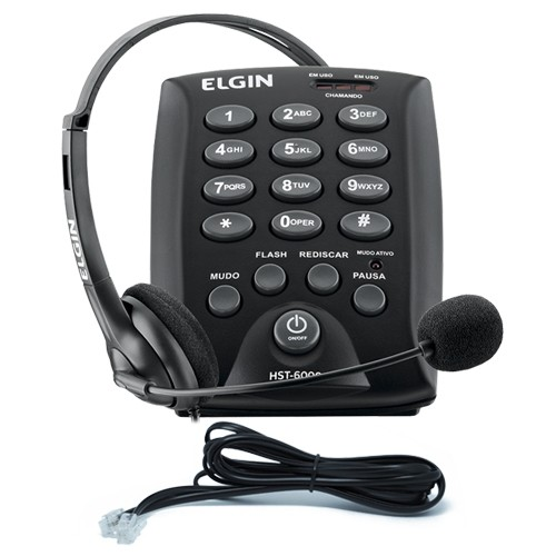 Kit 3 Telefones Headset com Base Discadora Teclado Elgin HST 6000 Telemarketing Preto  - BEST SALE SHOP