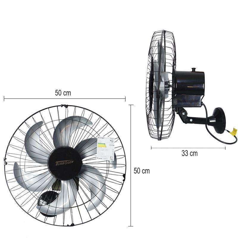 Kit 3 Ventiladores Parede 50cm 220V 200W Industrial Turbo Turbão 6 Pás GA Vitalex Preto