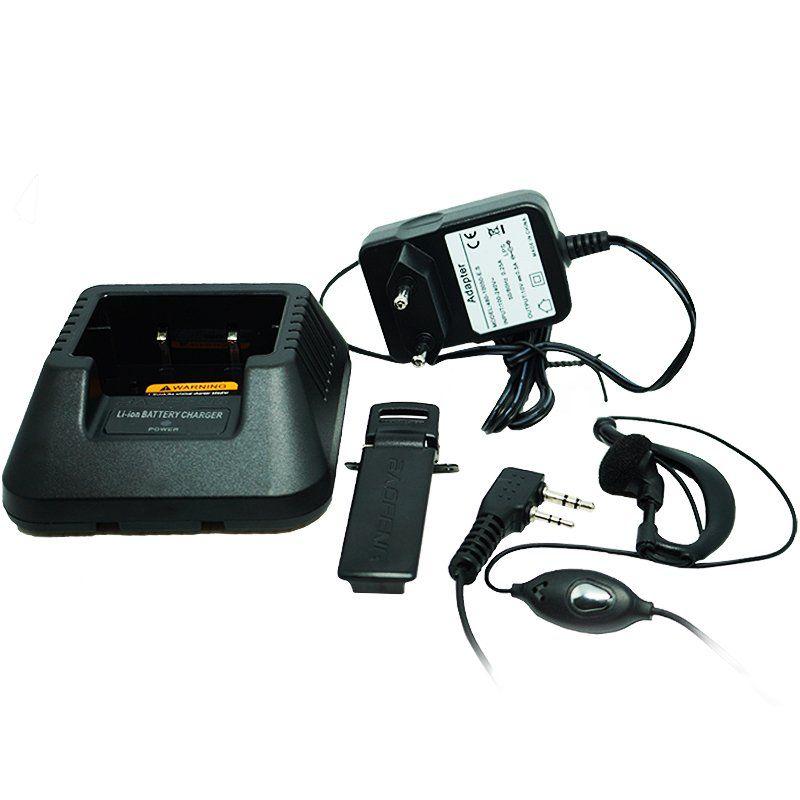 Kit 4 Rádios Comunicador HT Profissional Dual Band UHF VHF FM Baofeng UV-5RE Preto + Fone de Ouvido