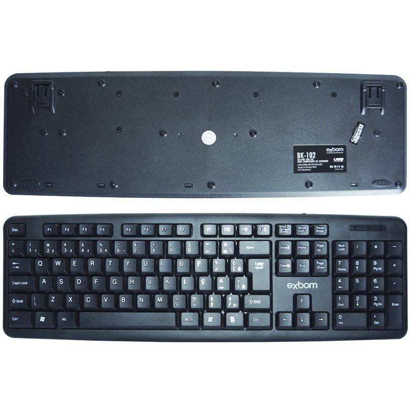 Kit 4 Teclados Usb Abnt2 com Ç + 4 Mouses Computador Pc Standard Exbom BK-102 MS-70 Preto