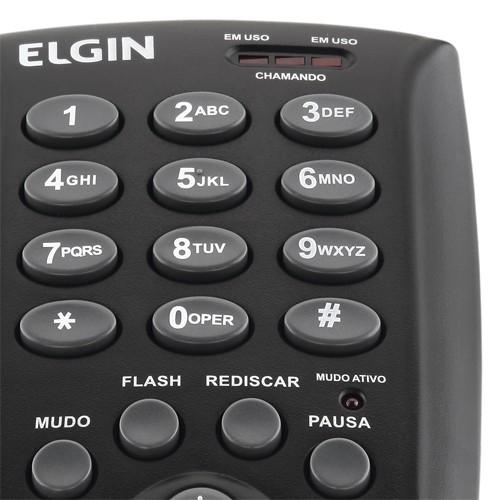 Kit 4 Telefones Headset com Base Discadora Teclado Elgin HST 6000 Telemarketing Preto