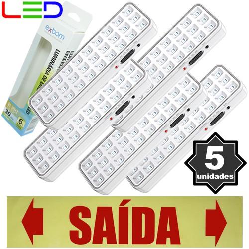 Kit 5 Luminárias de Emergência Bivolt 30 Leds 2W Exbom LE-PR40 Recarregável Lâmpada Luz Branco Frio  - BEST SALE SHOP