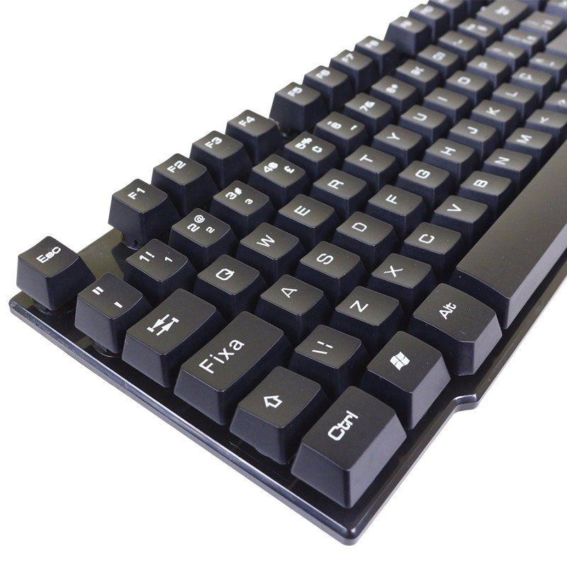 Kit 5 Teclado Semi Mecânico Gamer Profissional Usb Abnt2 com Ç 107 Teclas Exbom BK-150 Preto