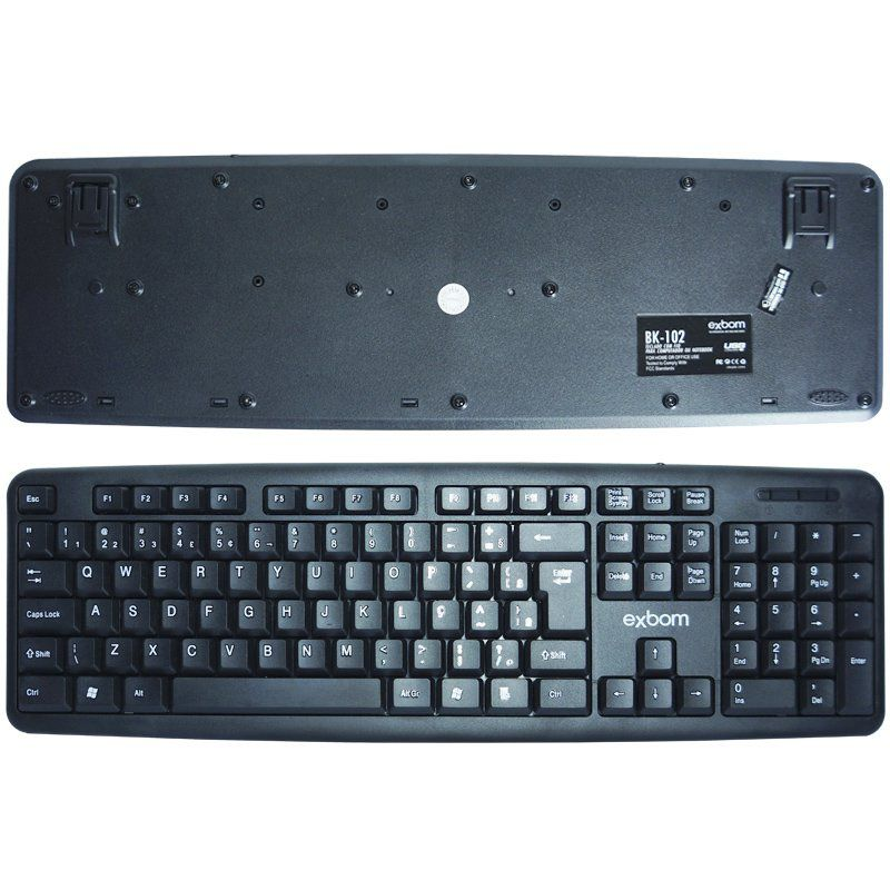 Kit 5 Teclados Usb Abnt2 com Ç + 5 Mouses Computador Pc Standard Exbom BK-102 MS-70 Preto