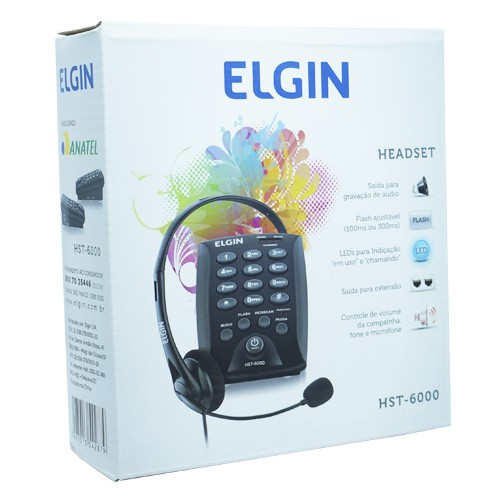 Kit 5 Telefones Headset com Base Discadora Teclado Elgin HST 6000 Telemarketing Preto
