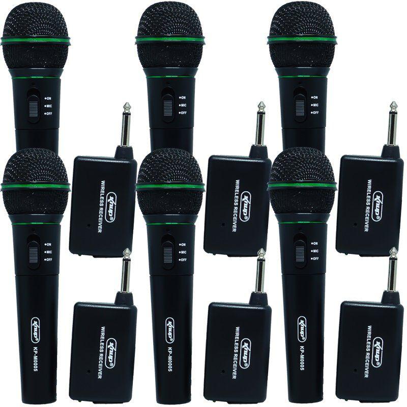 Kit 6 Microfones sem Fio Profissional Wireless P10 para Karaokê e Caixa de Som Knup KP-M0005 Preto
