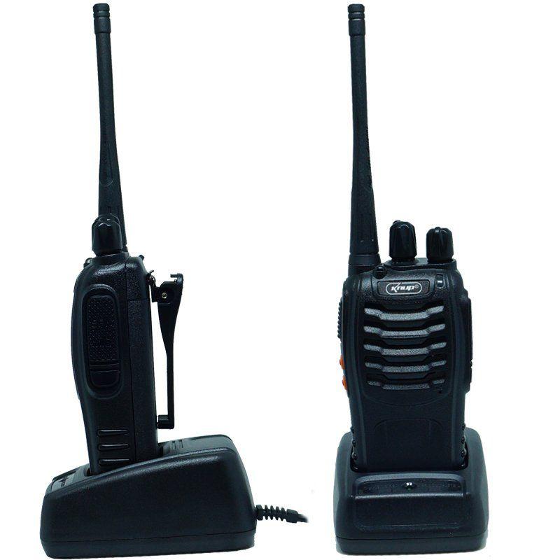 Kit 6 Rádios Comunicador HT Walk Talk UHF 16 Canais Profissional Knup KP-M0008 Preto Bivolt