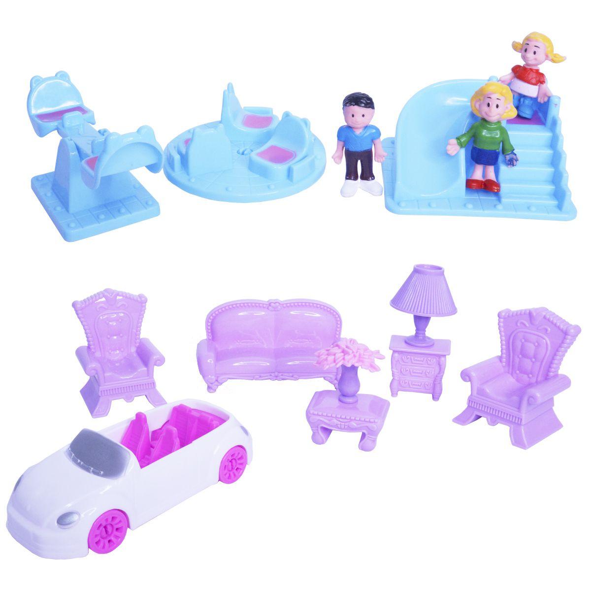Kit Casinha de Boneca Plástico Infantil Barata 15 Peças com Luz e Som Importway BW043 Lar Doce Lar