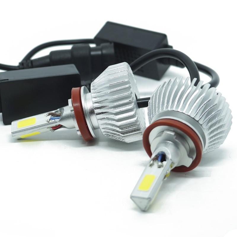 Kit Par Lâmpada Super Led Automotiva Farol Carro 3D H11 8000 Lumens 12V 24V 6000K