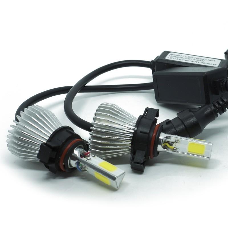 Kit Par Lâmpada Super Led Automotiva Farol Carro 3D H16 8000 Lumens 12V 24V 6000K