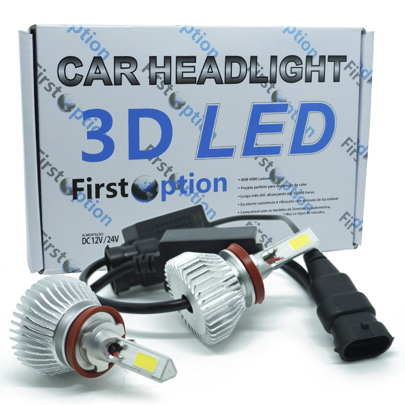 Kit Par Lâmpada Super Led Automotiva Farol Carro 3D H11 8000 Lumens 12V 24V First Option 6000K  - BEST SALE SHOP