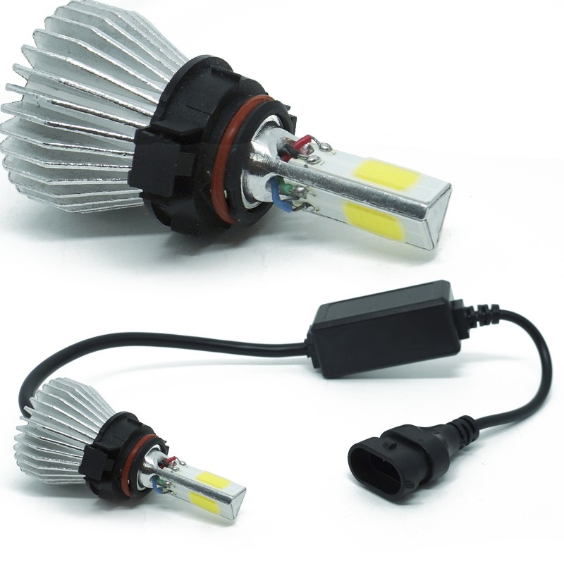Kit Par Lâmpada Super Led Automotiva Farol Carro 3D H16 8000 Lumens 12V 24V First Option 6000K