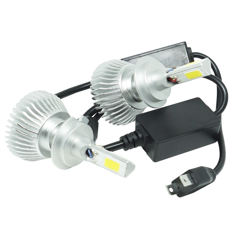 Kit Par Lâmpada Super Led Automotiva Farol Carro 3D H7 8000 Lumens 12V 24V 6000K