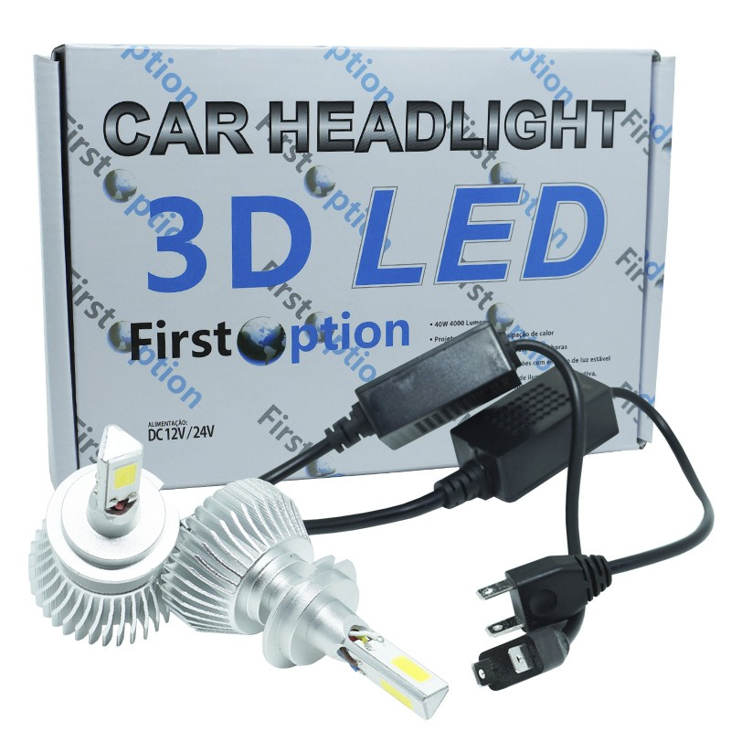Kit Par Lâmpada Super Led Automotiva Farol Carro 3D H7 8000 Lumens 12V 24V First Option 6000K