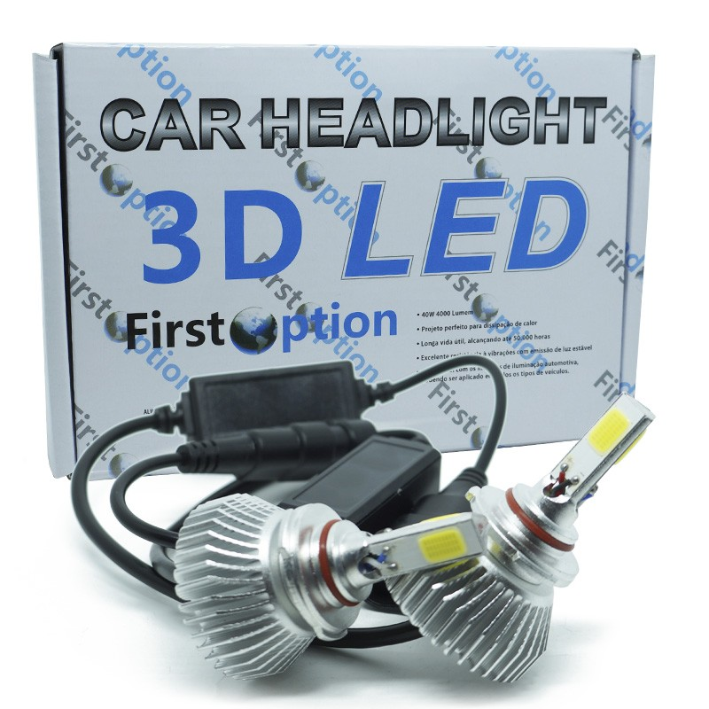 Kit Par Lâmpada Super Led Automotiva Farol Carro 3D HB4 9006 8000 Lumens 12V 24V First Option 6000K  - BEST SALE SHOP