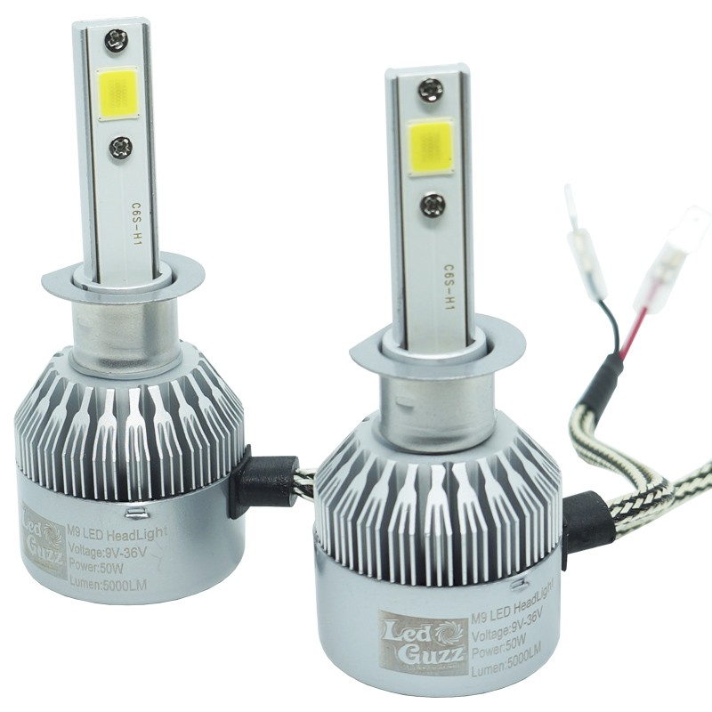 Kit Par Lâmpada Super Led Automotiva Farol Carro H1 10000Lm 12/24V Guzz 6000K  - BEST SALE SHOP