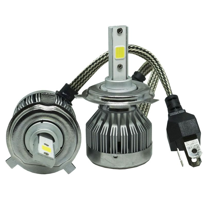 Kit Par Lâmpada Super Led Automotiva Farol Carro H4 Bi 10000Lm 12/24V Guzz 6000K