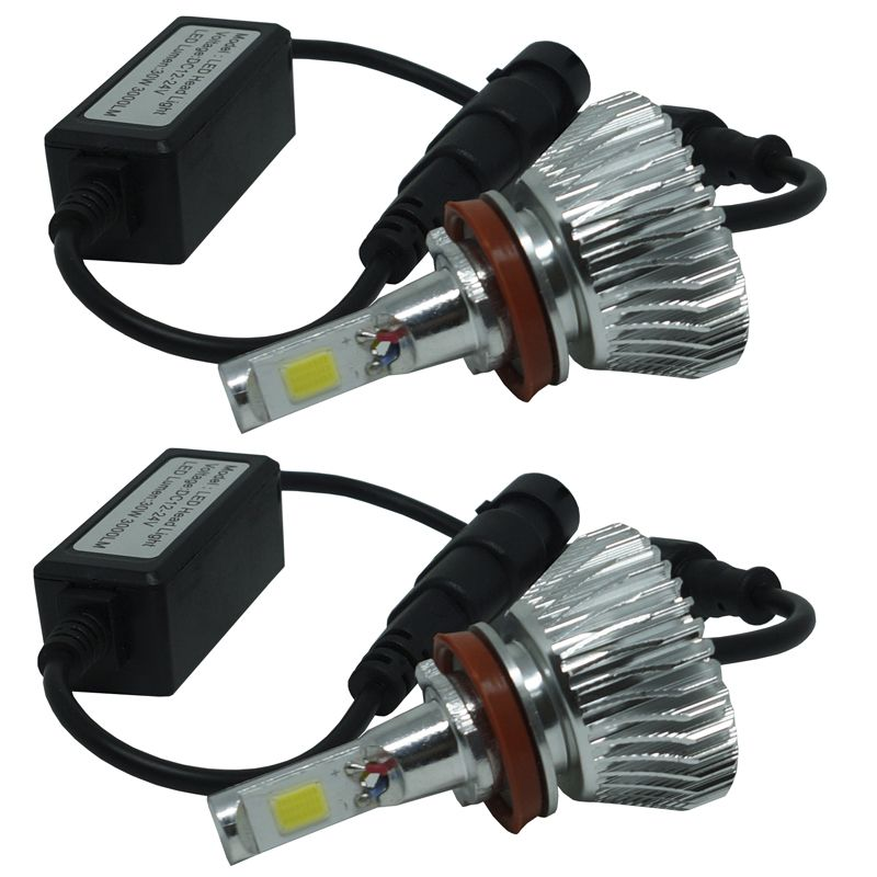 Kit Par Lâmpada Super Led Automotiva Farol Carro H8 6000 Lumens 12V 24V First Option 6000K