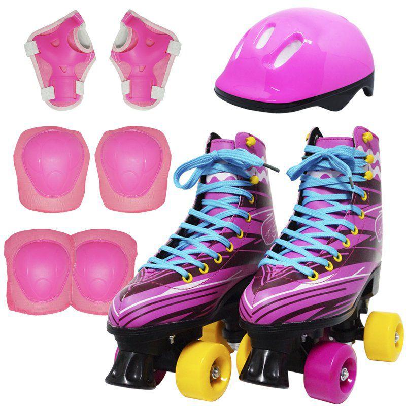 Kit Patins Clássico Quad 4 Rodas Roller + Acessórios Feminino Rosa Tam 29 Importway BW-021-R