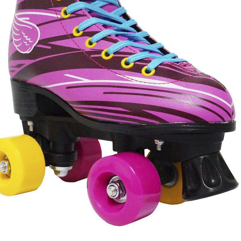 Kit Patins Clássico Quad 4 Rodas Roller + Acessórios Feminino Rosa Tam 32 Importway BW-021-R
