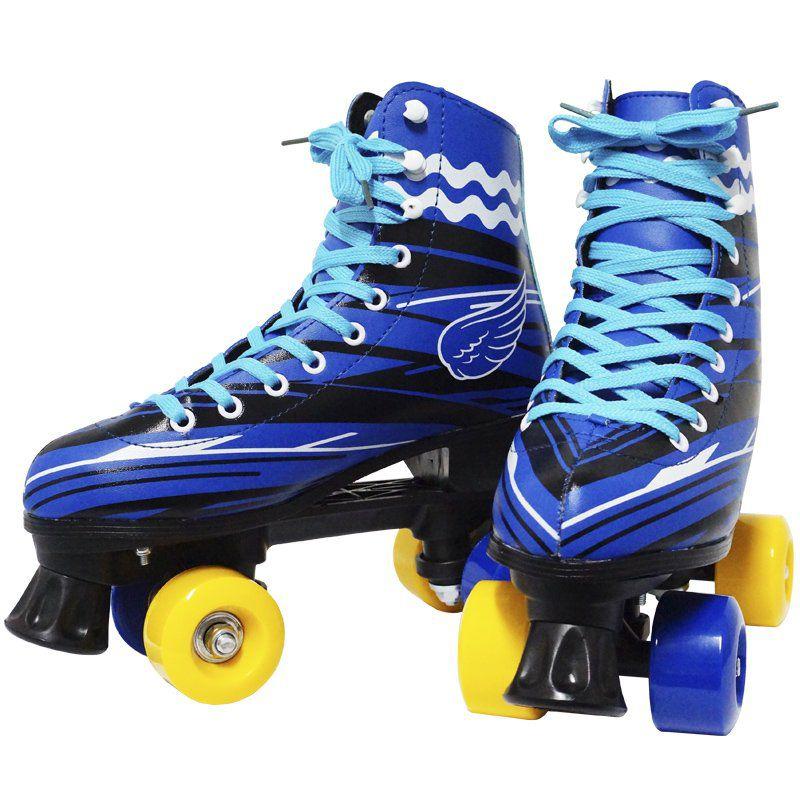 Kit Patins Clássico Quad 4 Rodas Roller + Acessórios Masculino Azul Tam 28 Importway BW-021-AZ