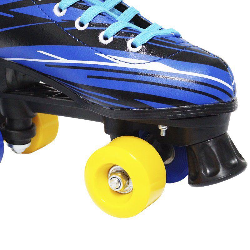 Kit Patins Clássico Quad 4 Rodas Roller + Acessórios Masculino Azul Tam 30 Importway BW-021-AZ
