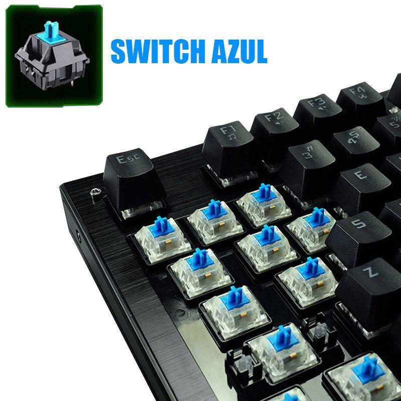 Kit Teclado Mecânico + Mouse 2400 Dpi Gamer Profissional Usb Abnt2 Iluminado Led Rgb Metal Preto