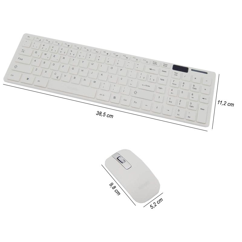 Kit Teclado + Mouse Sem Fio Wireless Usb Exbom BK-S1000 Branco com Capa Silicone  - BEST SALE SHOP