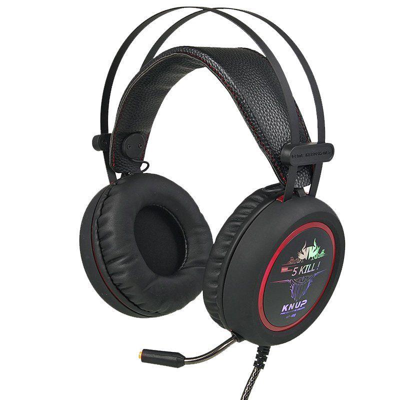 Kit Teclado Semi Mecânico Mouse Headset 7.1 Gamer Usb P2 Abnt2 Led BKG200 KPV19 KP401 Preto
