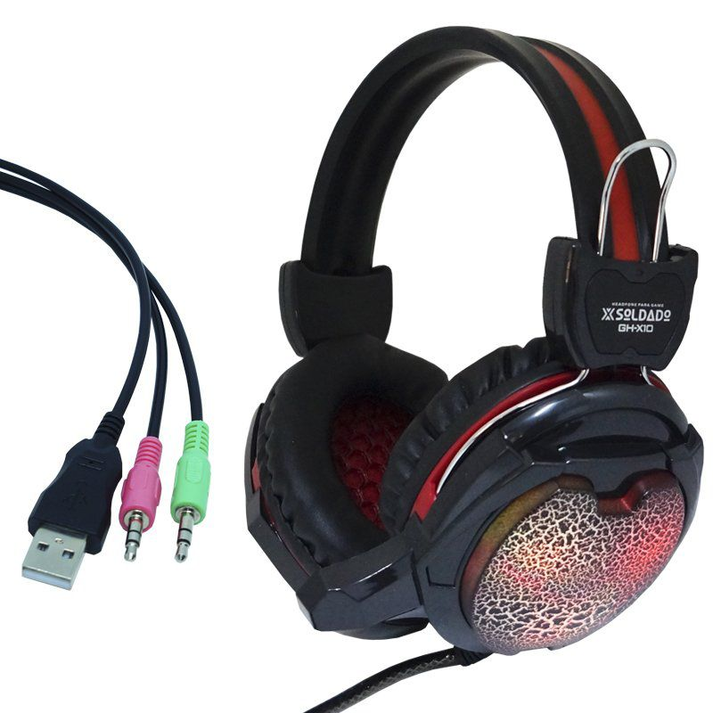 Kit Teclado Semi Mecânico Mouse Headset Gamer Usb P2 Abnt2 Led BKG200 KPV19 GHX10 Preto Vermelho