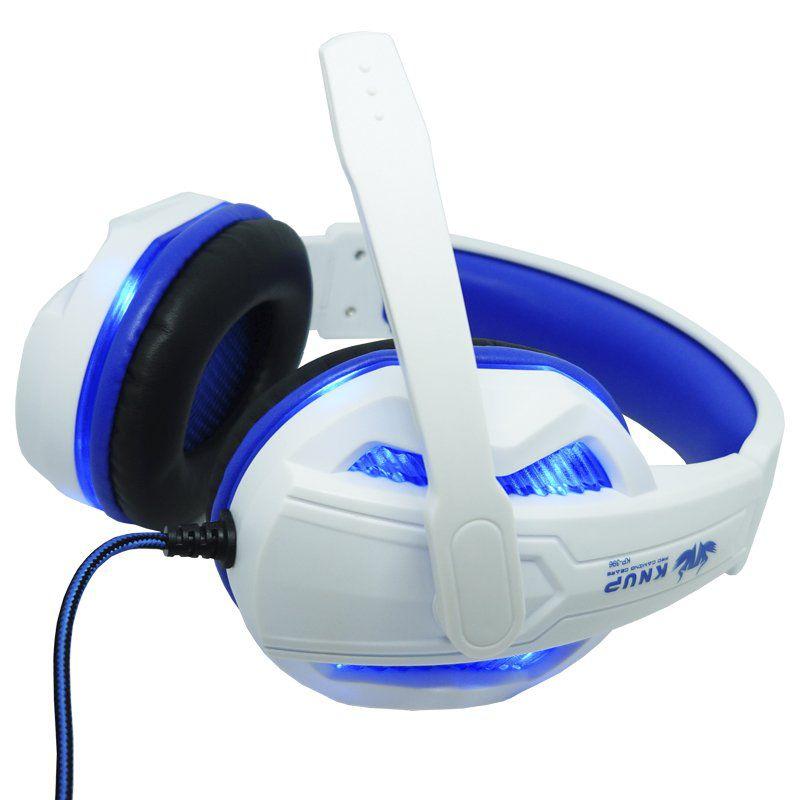Kit Teclado Semi Mecânico Mouse Headset Gamer Usb P2 Abnt2 Led Metal BKG3000 KP396 Prata Branco