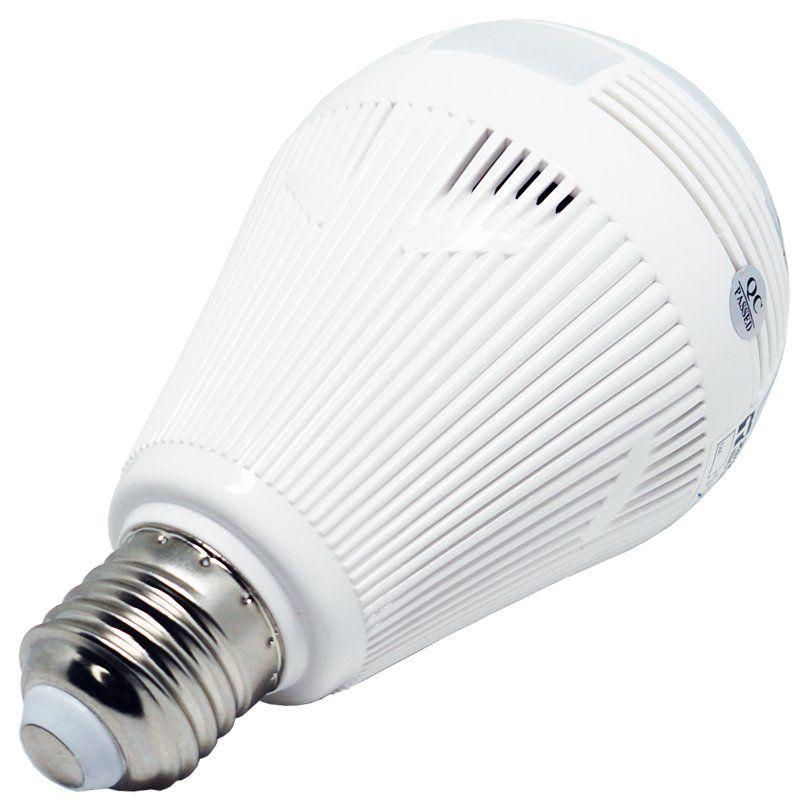 Lâmpada Câmera Espiã 360° Panorâmica Wifi Ip Led Bivolt Microfone e Alto Falante Embutido Branca