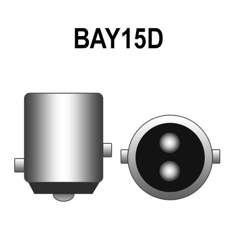 Par Lâmpada Led 12V Lanterna Freio Importado P21 BAY15D 18 Leds Branco