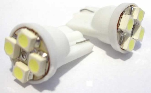 Lâmpada Led 12V T10 Importado 4 Leds (Par) Vermelho